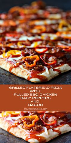 This flatbread pizza is topped with pulled BBQ chicken, sliced peppers, and pieces of bacon, then grilled to perfection. Once it comes off the grill drizzle it with more BBQ sauce and dive in! Fun Easy Recipes, Quick Easy Meals, Sweet Recipes, Summer Grilling Recipes, Barbecue Recipes, Summer Recipes, Best Chicken Recipes, Pizza Recipes, Lunch Recipes