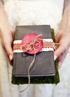 using the Bible instead of a pillow for the rings..with the colors of the wedding!