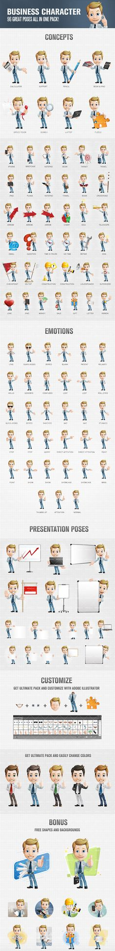Business boy cartoon character designed in 96 great poses. Be sure that his million-dollar smile and smart look will surely liven up your designs. Continue reading →