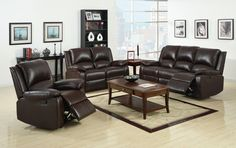 Oxford Reclining Sofa CM6555This functional living room group features a love seat and sofa with built in recliners and a matching recliner.The sofa also includes a handy built-in drink holder and drawer.• Transitional Style • Recliners • Plush Cushions • Leatherette • Rustic Dark BrownDIMENSIONS:Sofa W/ 2 Recliners
