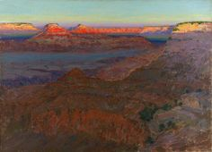 "Arthur Wesley Dow (1857-1922) - The Grand Canyon. Oil on Canvas. Circa 1911-1912. 26"" x 36""."