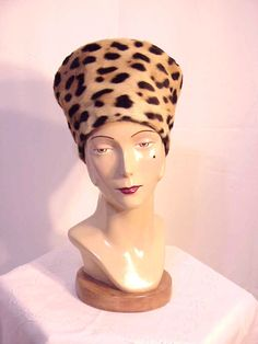 Vintage Neiman Marcus Authentic Leopard Fur Hat - Couture Custom Order Hat.
