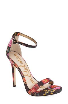 Fun floral print decorates these chic stilettos.