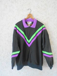 Vintage 80s Striped Collared Cotton Sweatshirt Pullover Black Purple Neon Green Long Sleeves Retro V Notched Made in USA Mens Medium by CoolDogVintage on Etsy