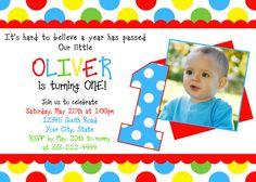 Polka Dots Primary Colors Birthday Invitations Printable. $12.00, via Etsy.