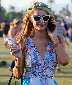 Paris Hilton in Gorgeous Maxi Dress and Tory Burch Flats at Coachella