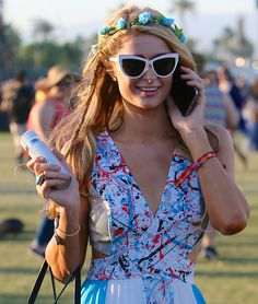 Paris Hilton in Gorgeous Maxi Dress and Tory Burch Flats at Coachella