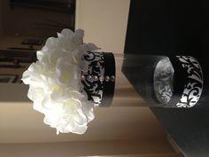 Damask themed floral arrangement for engagement party
