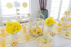 I would do the flower jars & birdcage with lemons along my island - Yellow and white high tea party seating table details Yellow Birthday, 65th Birthday, Birthday Parties, Birthday Ideas, Flowers In Jars, Flower Jars, White Bridal Shower, Yellow Theme, High Tea