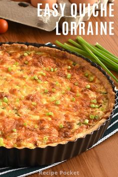 This classic quiche Lorraine is full of bacon and cheese in a flaky homemade pie crust. This easy recipe using eggs is perfect for brunch lunch dinner breakfast or as a picnic quiche. Can be made in advance for busy times like Easter or Christmas. Recipes Using Egg, Easy Baking Recipes, Easy Dinner Recipes, Breakfast Recipes, Easy Meals, Appetizer Recipes, Appetizers, Quiche Recipes, Bacon Recipes