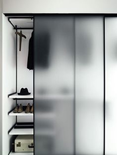 Like the thin frame with single pane glass - closet doors - Boffi wardrobe with frosted glass doors Bedroom Wardrobe, Wardrobe Closet, Walk In Closet, Wardrobe Sale, Corner Wardrobe, Wooden Wardrobe, Small Wardrobe, Room Closet, Corner Closet