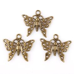 BMGM-Vintage Bronze Hollow Butterfly Charms . Starting at $1 on Tophatter.com!