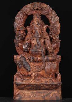 "View the Wood Ganesh Statue with Mahakala 24"""