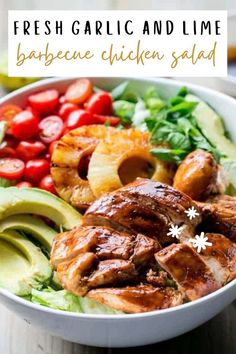 Fresh Garlic and Lime Barbecue Chicken Salad—by far one of the best salads full of flavor, protein and delicious veggies. Make this recipe for dinner or meal prep it for lunch during the week! Barbecue sauce smothered chicken with garlic and a hint of lime, and juicy grilled pineapple so refreshing in this bowl of fresh and crunchy and creamy perfection all in one. It doesn't get better than this! Lime Chicken, Baked Chicken, Smothered Chicken, Grilling Recipes, Cooking Recipes, Healthy Recipes, Barbecue Chicken, Barbecue Sauce, Yummy Chicken Recipes