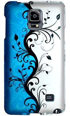 "myLife Blue + White + Black Leafy Vines {Cute, Girly, Beautiful} 2 Piece Snap-On Rubberized Protective Faceplate Case for the Samsung Galaxy Note 4 ""All Ports Accessible"" myLife Brand Products http://www.amazon.com/dp/B00U7VWAK0/ref=cm_sw_r_pi_dp_kTyhvb0Z6WR5Z"