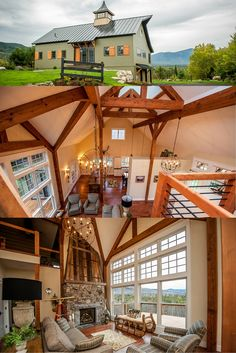 Cabot barn house is a modern take on the traditional barn. open concept with lofted spaces. Visit for more pics and floor plans. #barnhomes