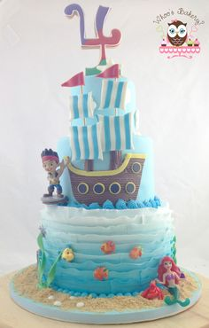 Pirate and Mermaid Cake, Little Mermaid Cake, Pirate Cake, Jake the Pirate Cake, Under the sea cake