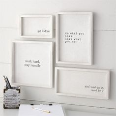 Work Hard Framed Plaques Set - Bahay Home and Garden Set of 4 white-washed wooden plaques feature motivating printed sentiments, thick raised wooden borders and arrive with saw tooth hardware for hanging. Size: get it done 5 x 8 Bedroom Wall, Bedroom Decor, Bedroom Quotes, Cheap Home Decor, Diy Home Decor, Office Walls, My New Room, Getting Things Done, Home Office Decor