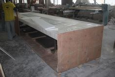 Packaging. Conference table with solid surface and stainless steel table base - TW-MATB-021 - Tell World Solid Surface