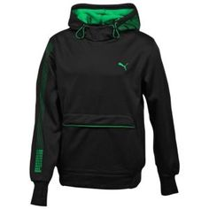 PUMA Tech Graphic Hooded Fleece - Men s - Sport Inspired - Clothing -  Black Green efb9dd8b337