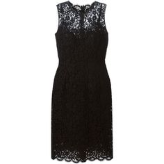 Dolce & Gabbana Floral Lace Midi Dress (4,650 SGD) ❤ liked on Polyvore featuring dresses, black, black scalloped dress, floral print dress, black midi dress, lace midi dress and mid calf length dresses