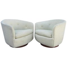 1stdibs | Gorgeous Pair of Milo Baughman Celery Green Swivel Tub Chairs
