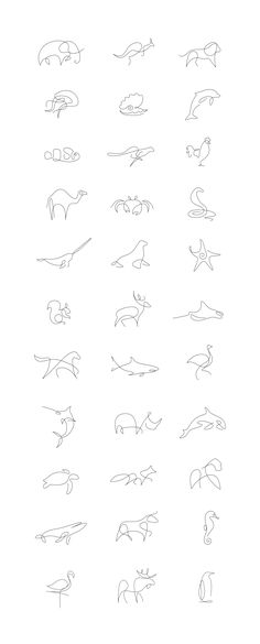 Set of animal logos / icons made in one line.