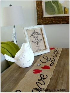 Decor with burlap table runner inspiration for Valentine's day #hearts #love #valentinesday