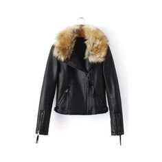 7e7e768c3ffcb Artificial Fur Leather Look Biker Jacket ( 78) ❤ liked on Polyvore  featuring outerwear