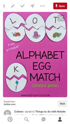 Alphabet Games, Phonics Games, File Folder Games, Pre Kindergarten, Aba, Letters And Numbers, Teaching Ideas, School Ideas, Literacy
