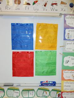 Magnetic pocket charts to help provide visuals for different Words Their Way groups.