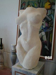 """Busto """"Torso di donna"""" in pietra - http://www.achillegrassi.com/project/busto-di-donna-in-pietra-bianca-di-vicenza/ - Splendida realizzazione di un busto di donna in Pietra bianca di Vicenza  Dimensioni: – 105cm (H)"""