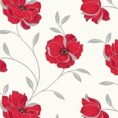 Gray and cream wallpaper border red silver grey white sophia motif by arthouse floral wallpaper red flowers 614702 mightylinksfo