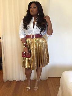 Splurge: Jazmine Sullivan's Bally Performance DKNY Gold Pleated Skirt and Bally Parvia Leather Sandals | The Fashion Bomb Blog | Bloglovin'