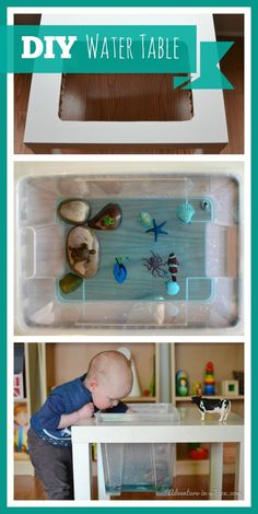 How to Make a Water Table: a simple DIY project on how to turn an Ikea table into a water table for sensory play and other fun kids activities! Fun Activities For Kids, Infant Activities, Indoor Activities, Family Activities, Toddler Play, Baby Play, Ikea Table, Sensory Play, Diy Toys