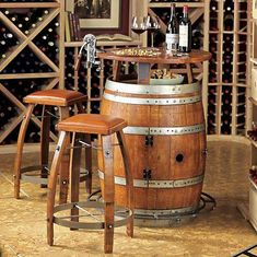 Rustic wine furniture. - very cool... I'm really loving the wine barrel accent furniture lately...