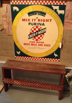 Superior Feed Vintage Look Tin Metal Advertising Sign Farm Barn Pigs