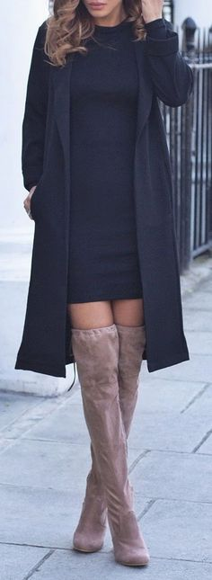 Chic Classy Elegant Winter Outfit Ideas for Women for Going Out Fashionsta Trends with Thigh High Boots Trench Coat - Elegante traje de invierno Ideas para salir para las mujeres - www.Poshiroo.com