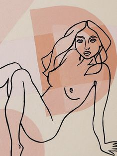 Close up of erotic art painting by Byron Bay artist Coris Evans. Visit her Etsy store to see Positive Art, Body Positive, Geometric Artwork, Geometric Shapes, Picasso Cubism, Different Forms Of Art, Figure Poses, Female Empowerment, Canvas Paper