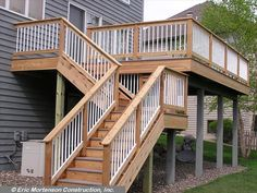 Second Floor Deck with Screened in Porch Design and Stairs - Decomagz Screened Porch Designs, Patio Deck Designs, Screened In Porch, Front Porch, Veranda Design, Deck Steps, Wood Steps, Deck Construction, Outdoor Stairs