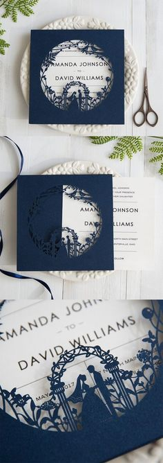 If you're planning a garden themed wedding, this elegant navy blue laser cut wedding invites will be your perfect choice. ** Find out more details by clicking on the image #WeddingInvitation