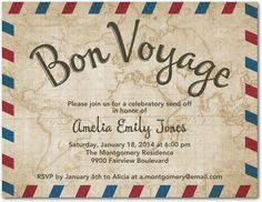 Vintage Voyage - Party Invitation Postcards in Dark Gray | Design Collective