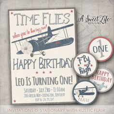 Vintage Airplanes Birthday Party Invitation & by ASweetLifeDesigns