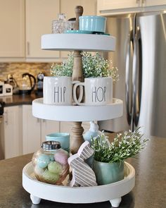Tiered tray ideas holiday decor/food/presents/etc. ideas украшение офиса, п Tray Decor, Decoration Table, Spring Decorations, Centerpiece Ideas, Outdoor Decorations, Easter Centerpiece, Thanksgiving Decorations, Table Centerpieces, Spring Home Decor