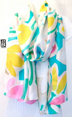 Handpainted Large Silk Shawl Spring Abstract por SilkScarvesTakuyo, $315.00