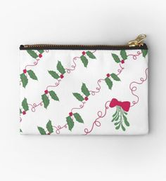 'Jolly Holly' Zipper Pouch by Jolly Holiday, Red Ribbon, Merry And Bright, Zipper Pouch, Makeup Yourself, Are You The One, Zip Around Wallet, Coin Purse, Twitter