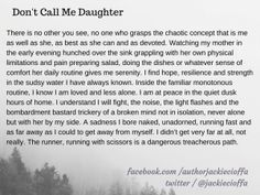 Don't Call Me Daughter by Jacqueline Cioffa #vignette #prose