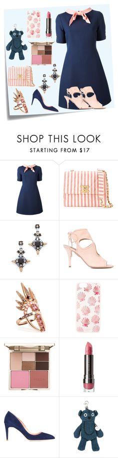 """Gucci Bow Collar Dress..**"" by yagna ❤ liked on Polyvore featuring Post-It, Gucci, Chanel, DANNIJO, Aquazzura, Nikos Koulis, Sonix, Stila, LORAC and Rupert Sanderson"