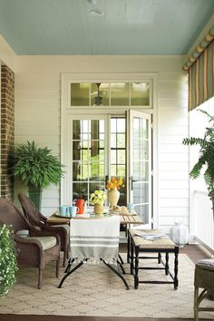 79 Porch & Patio Ideas - Something for Everyone! - Gracious Side Porch - Porch and Patio Design Inspiration - Southern Living Outdoor Rooms, Outdoor Dining, Outdoor Furniture Sets, Dining Table, Dining Area, Outdoor Benches, Porch Furniture, Patio Table, Patio Chairs