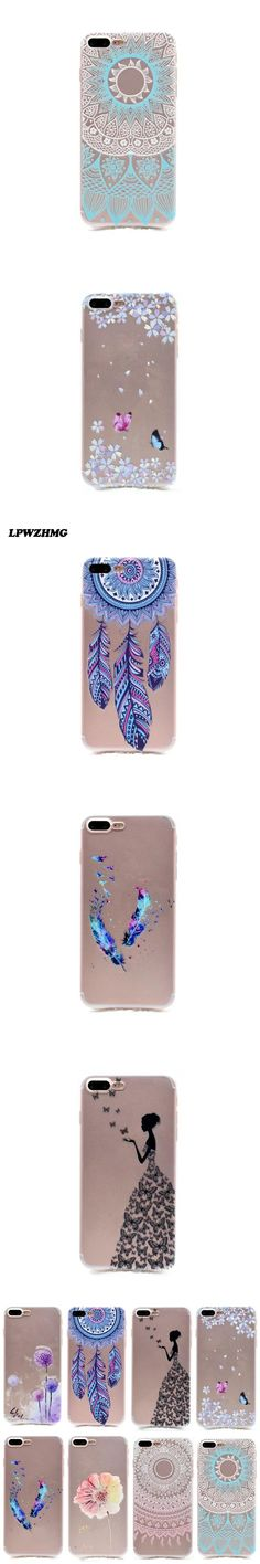 2017 New Arrival Transparent Soft TPU Silicon Mobile Phone Case For Iphone 6 6s Plus Case Clear Flower Pattern Design Back Cover